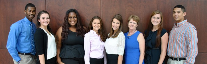 E-Board Only Picture: Left to right: Joshua Cooper, Alexandra Dinger, Nehizena Aihie, Svannah Ray, Erica Poulin, Jean Burns (Faculty Advisor), Kailee Kovacs, Brandon Chavez